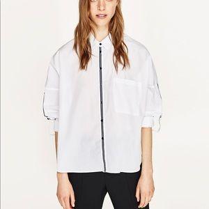 ZARA, Oversized shirt with stripes, XS
